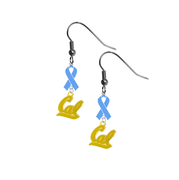 California Cal Golden Bears Style 2 Prostate Cancer Awareness Light Blue Ribbon Dangle Earrings
