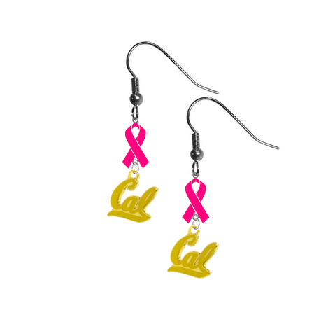 California Cal Golden Bears Style 2 Breast Cancer Awareness Hot Pink Ribbon Dangle Earrings