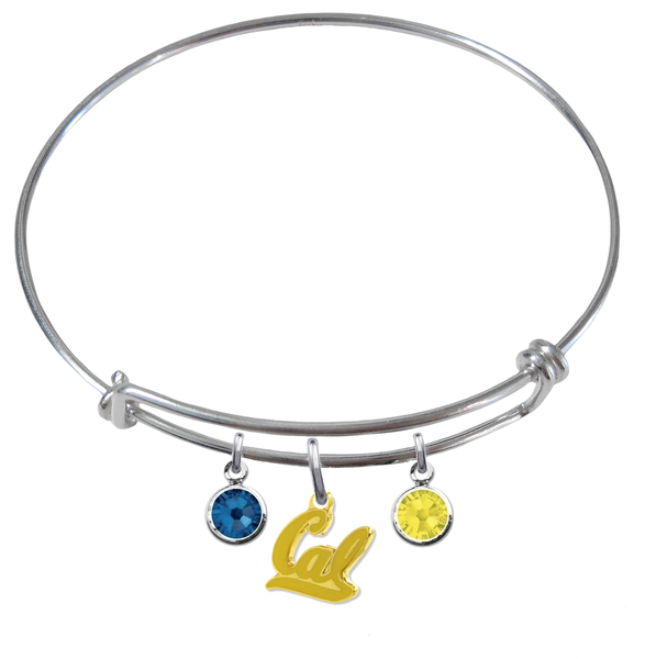 California Golden Bears Style 2 NCAA Expandable Wire Bangle Charm Bracelet
