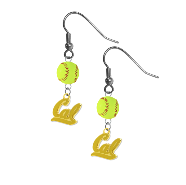 California Golden Bears Style 2 NCAA Fastpitch Softball Dangle Earrings