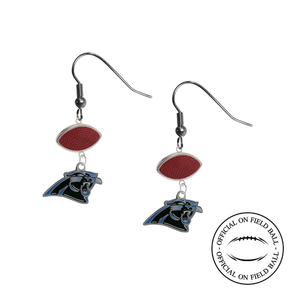 Carolina Panthers NFL Authentic Official On Field Leather Football Dangle Earrings