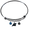 Carolina Panthers Black NFL Expandable Wire Bangle Charm Bracelet