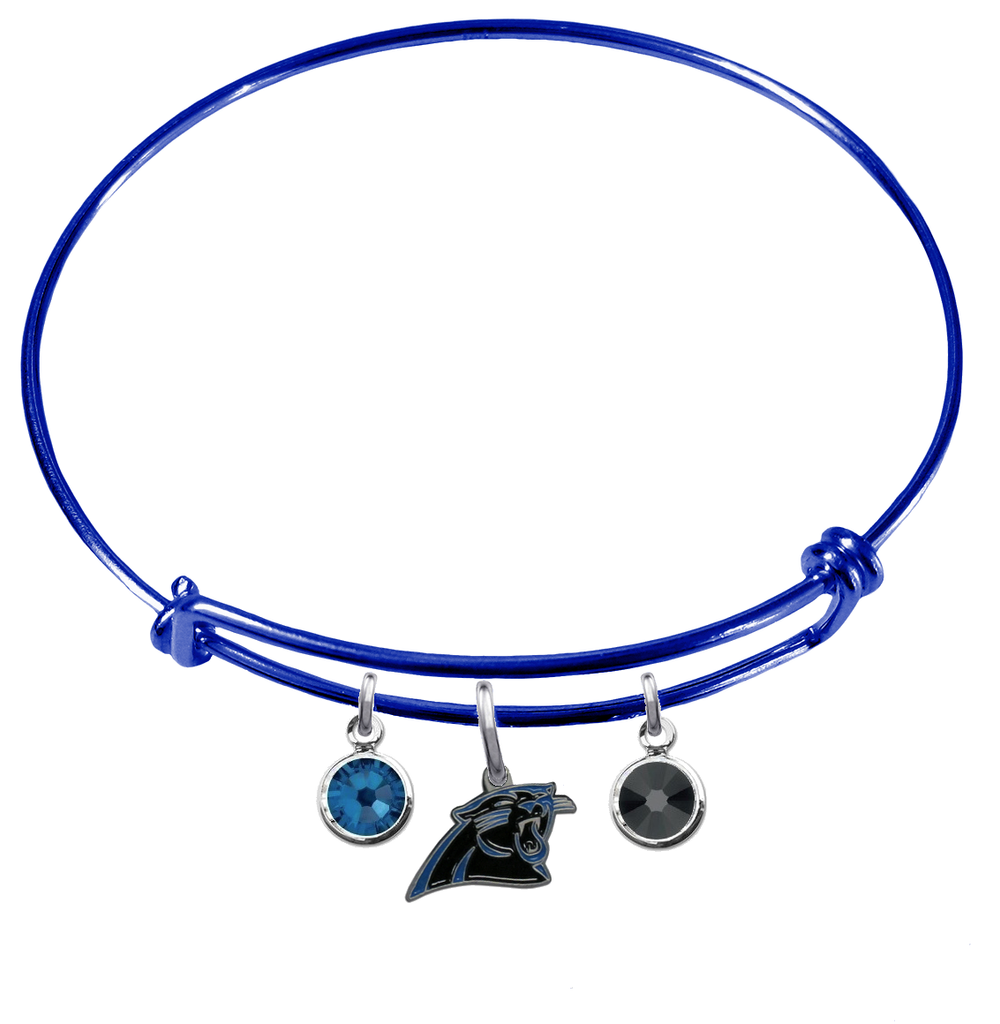 Carolina Panthers Blue NFL Expandable Wire Bangle Charm Bracelet