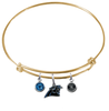 Carolina Panthers Gold NFL Expandable Wire Bangle Charm Bracelet
