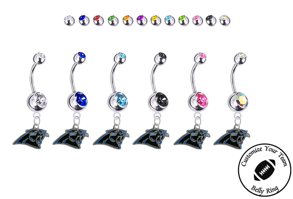 Carolina Panthers Silver Swarovski Belly Button Navel Ring - Customize Gem Colors