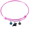 Carolina Panthers Pink NFL Expandable Wire Bangle Charm Bracelet