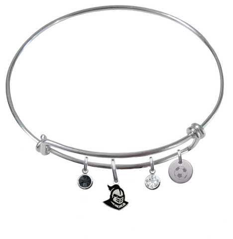 Central Florida Knights Soccer Expandable Wire Bangle Charm Bracelet