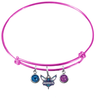 Charlotte Hornets PINK Color Edition Expandable Wire Bangle Charm Bracelet