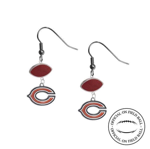 Chicago Bears NFL Authentic Official On Field Leather Football Dangle Earrings
