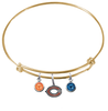 Chicago Bears Gold NFL Expandable Wire Bangle Charm Bracelet