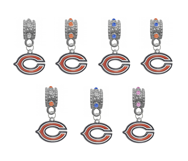 Chicago Bears NFL Football Crystal Rhinestone European Bracelet Charm