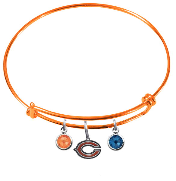 Chicago Bears Orange NFL Expandable Wire Bangle Charm Bracelet