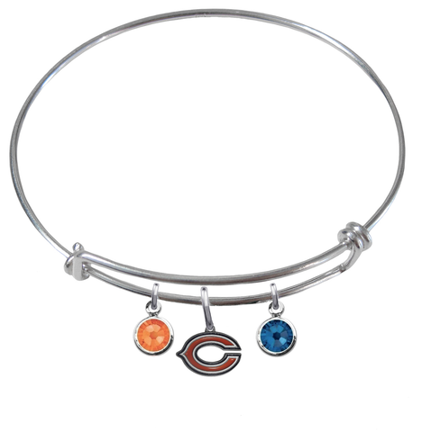 Chicago Bears NFL Expandable Wire Bangle Charm Bracelet