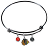 Chicago Blackhawks Color Edition BLACK Expandable Wire Bangle Charm Bracelet