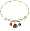 Chicago Blackhawks Color Edition GOLD Expandable Wire Bangle Charm Bracelet