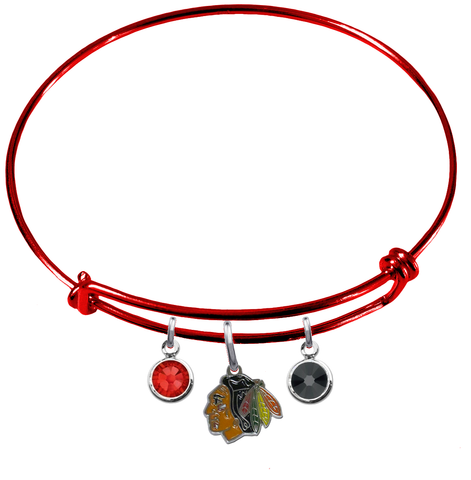 Chicago Blackhawks Color Edition RED Expandable Wire Bangle Charm Bracelet