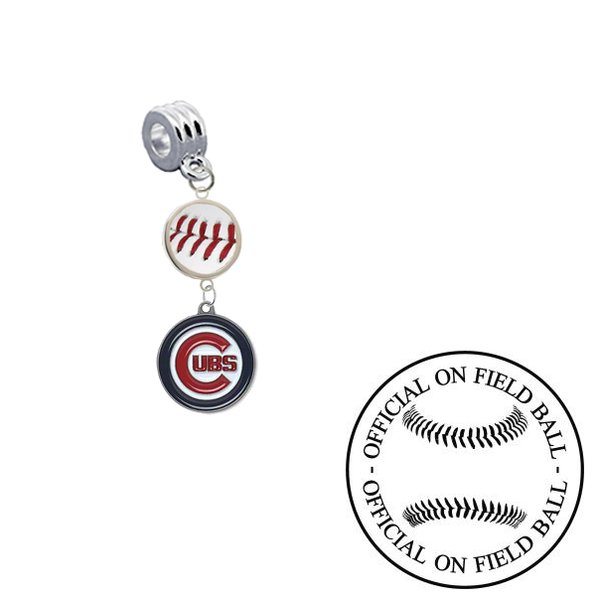 Chicago Cubs On Field Baseball Universal European Bracelet Charm (Pandora Compatible)
