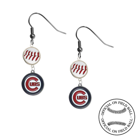 Chicago Cubs MLB Authentic Rawlings On Field Leather Baseball Dangle Earrings