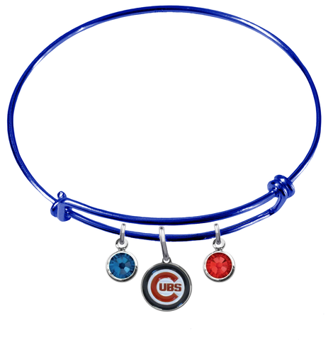 Chicago Cubs Blue MLB Expandable Wire Bangle Charm Bracelet