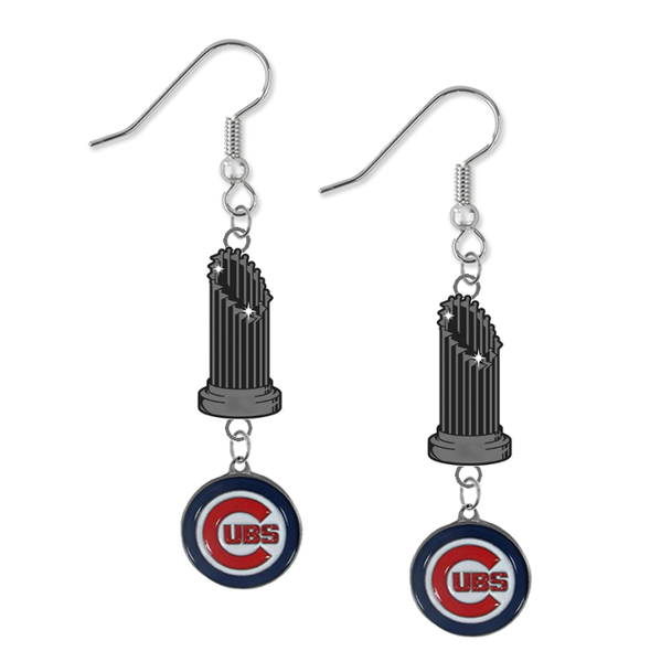 Chicago Cubs MLB World Series Trophy Dangle Earrings
