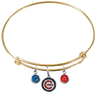 Chicago Cubs Gold MLB Expandable Wire Bangle Charm Bracelet