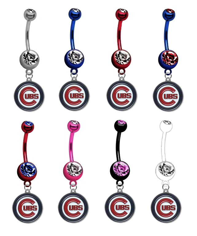 Chicago Cubs MLB Baseball Belly Button Navel Ring - Pick Your Color