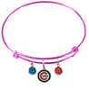 Chicago Cubs Pink MLB Expandable Wire Bangle Charm Bracelet