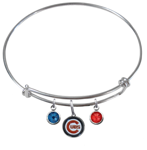 Chicago Cubs MLB Expandable Wire Bangle Charm Bracelet