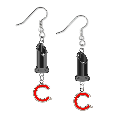Chicago Cubs Style 2 MLB World Series Trophy Dangle Earrings