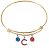 Chicago Cubs Style 2 Gold MLB Expandable Wire Bangle Charm Bracelet