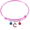 Chicago Cubs Style 2 Pink MLB Expandable Wire Bangle Charm Bracelet