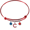 Chicago Cubs Style 2 Red MLB Expandable Wire Bangle Charm Bracelet