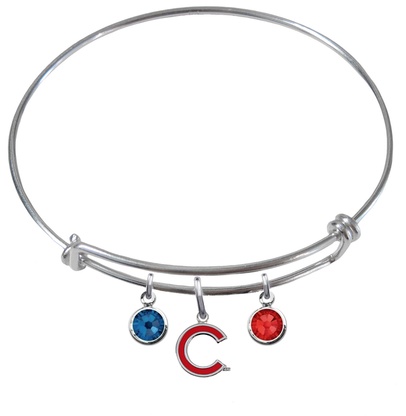 Chicago Cubs Style 2 MLB Expandable Wire Bangle Charm Bracelet
