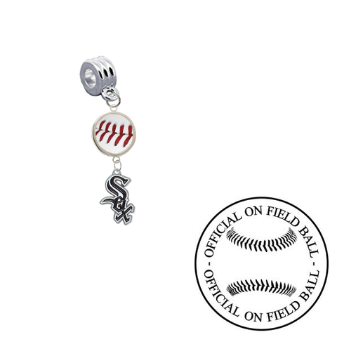Chicago White Sox On Field Baseball Universal European Bracelet Charm (Pandora Compatible)