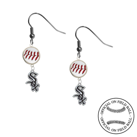 Chicago White Sox MLB Authentic Rawlings On Field Leather Baseball Dangle Earrings
