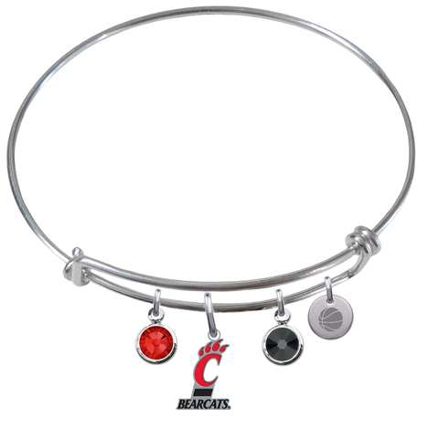 Cincinnati Bearcats Basketball Expandable Wire Bangle Charm Bracelet
