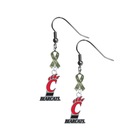 Cincinnati Bearcats Salute to Service Camouflage Camo Ribbon Dangle Earrings