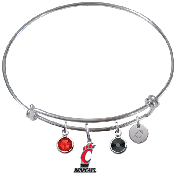 Cincinnati Bearcats Football Expandable Wire Bangle Charm Bracelet