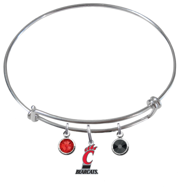 Cincinnati Bearcats NCAA Expandable Wire Bangle Charm Bracelet