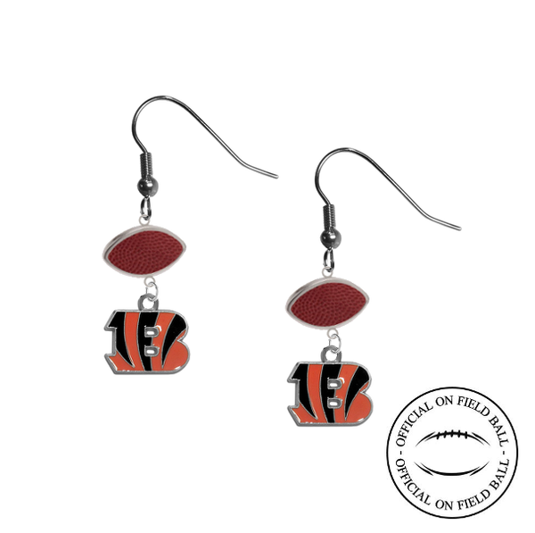 Cincinnati Bengals NFL Authentic Official On Field Leather Football Dangle Earrings