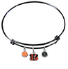 Cincinnati Bengals Black NFL Expandable Wire Bangle Charm Bracelet