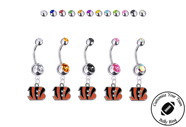 Cincinnati Bengals Silver Swarovski Belly Button Navel Ring - Customize Gem Colors