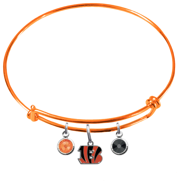 Cincinnati Bengals Orange NFL Expandable Wire Bangle Charm Bracelet