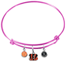 Cincinnati Bengals Pink NFL Expandable Wire Bangle Charm Bracelet