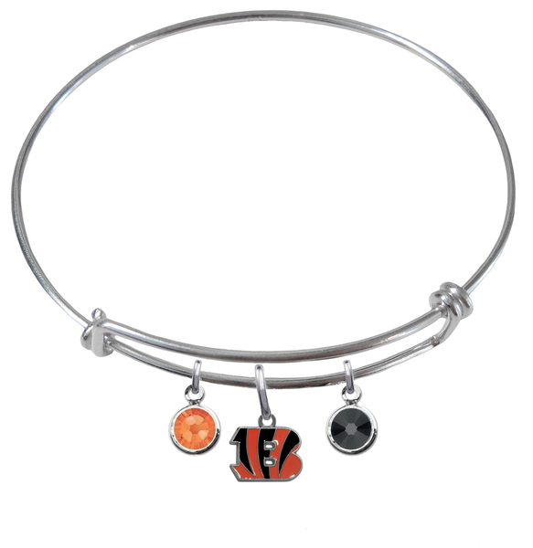 Cincinnati Bengals NFL Expandable Wire Bangle Charm Bracelet