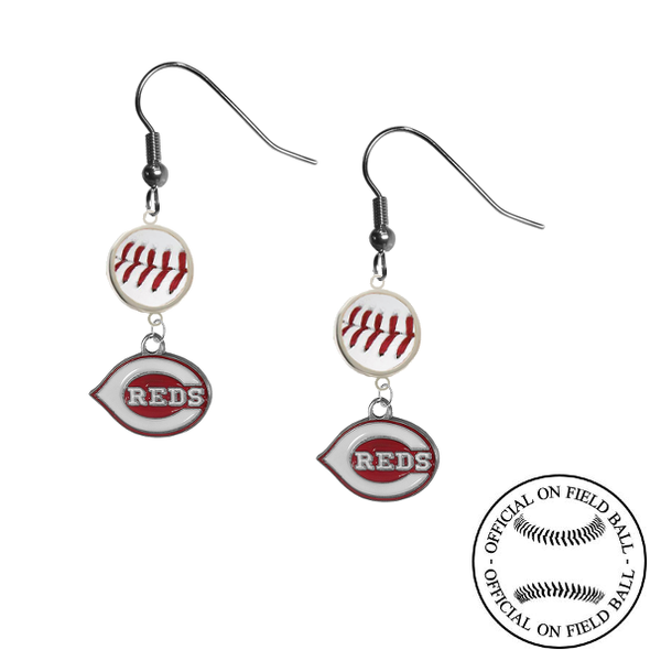 Cincinnati Reds MLB Authentic Rawlings On Field Leather Baseball Dangle Earrings