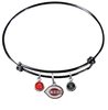 Cincinnati Reds Black MLB Expandable Wire Bangle Charm Bracelet