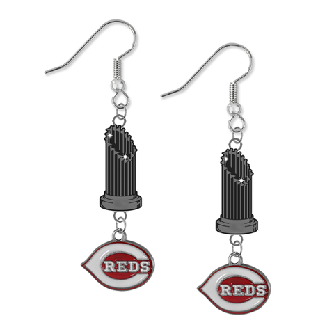Cincinnati Reds MLB World Series Trophy Dangle Earrings