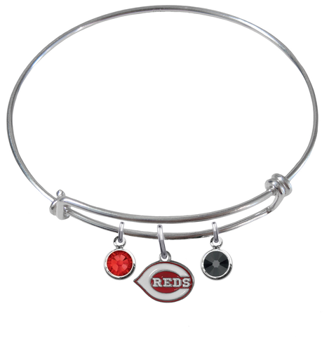 Cincinnati Reds MLB Expandable Wire Bangle Charm Bracelet