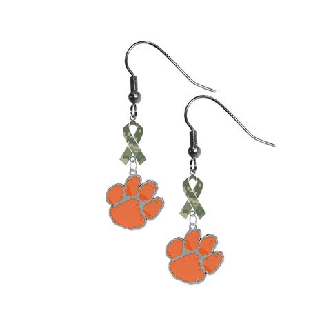 Clemson Tigers Salute to Service Camouflage Camo Ribbon Dangle Earrings